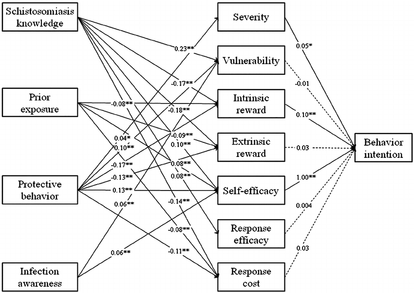 Structural equation modeling of schistosomiasis knowledge