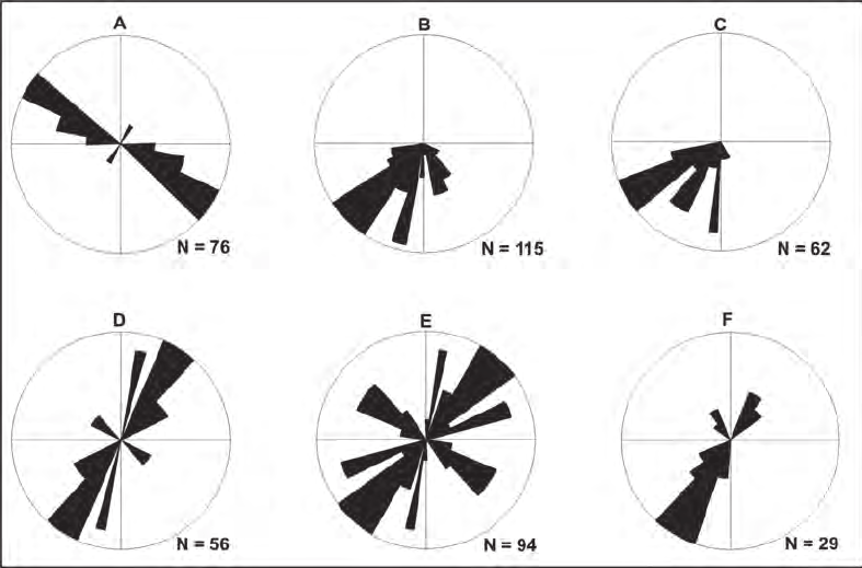Rose diagrams showing plots of different linear