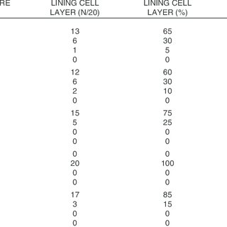 Data of evaluation of expression of the investigated cell