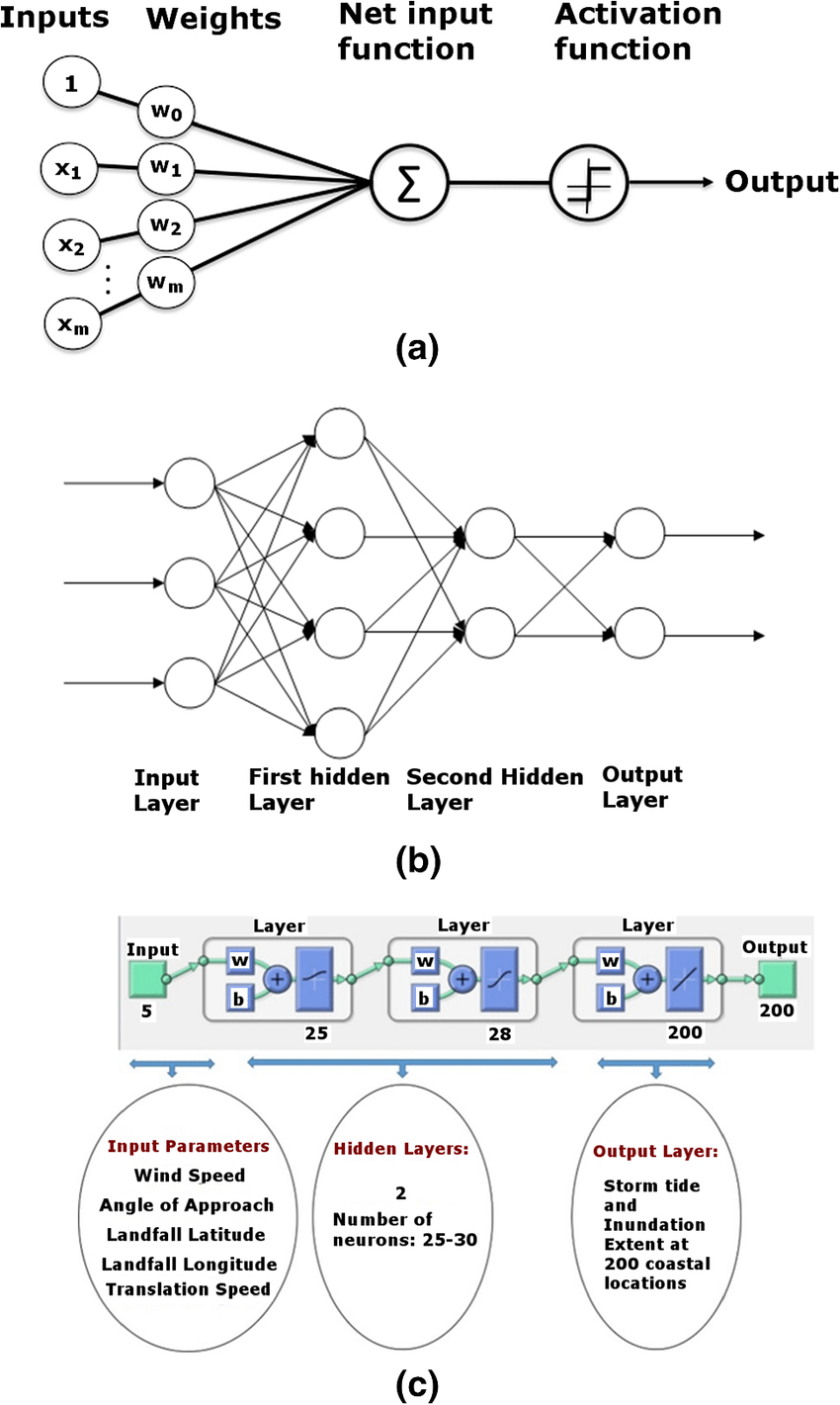 medium resolution of  a schematic diagram of a single layer single output ann model b