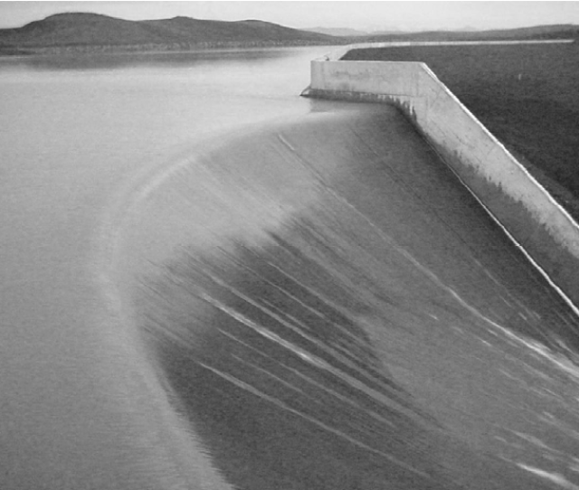 The Curved Spillway Crest As Seen From Above