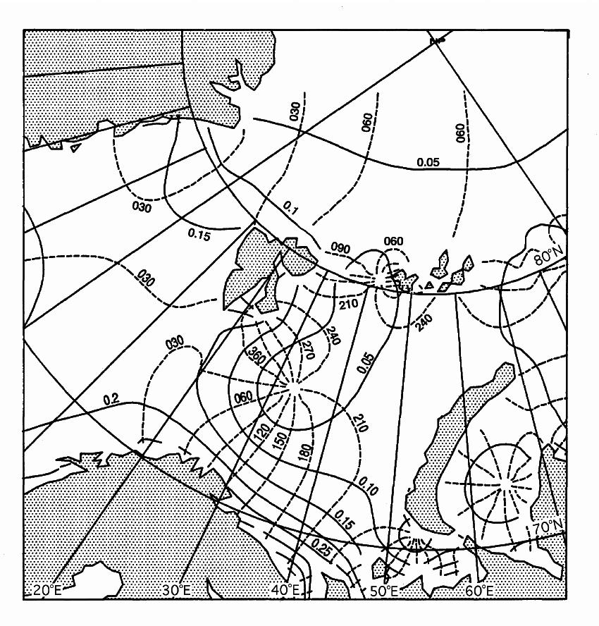 S2 Tidal chart. Contour lines for amplitude, H , full