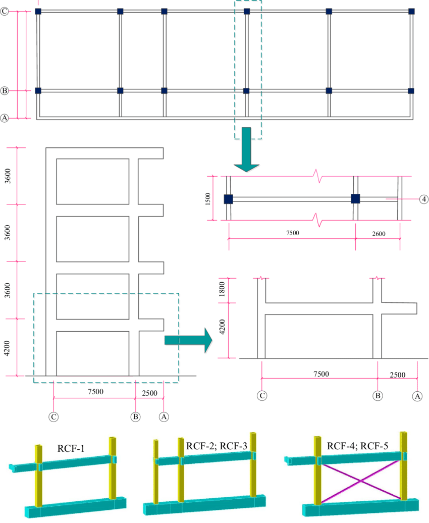 hight resolution of layout of the four story rc frame and one and a half
