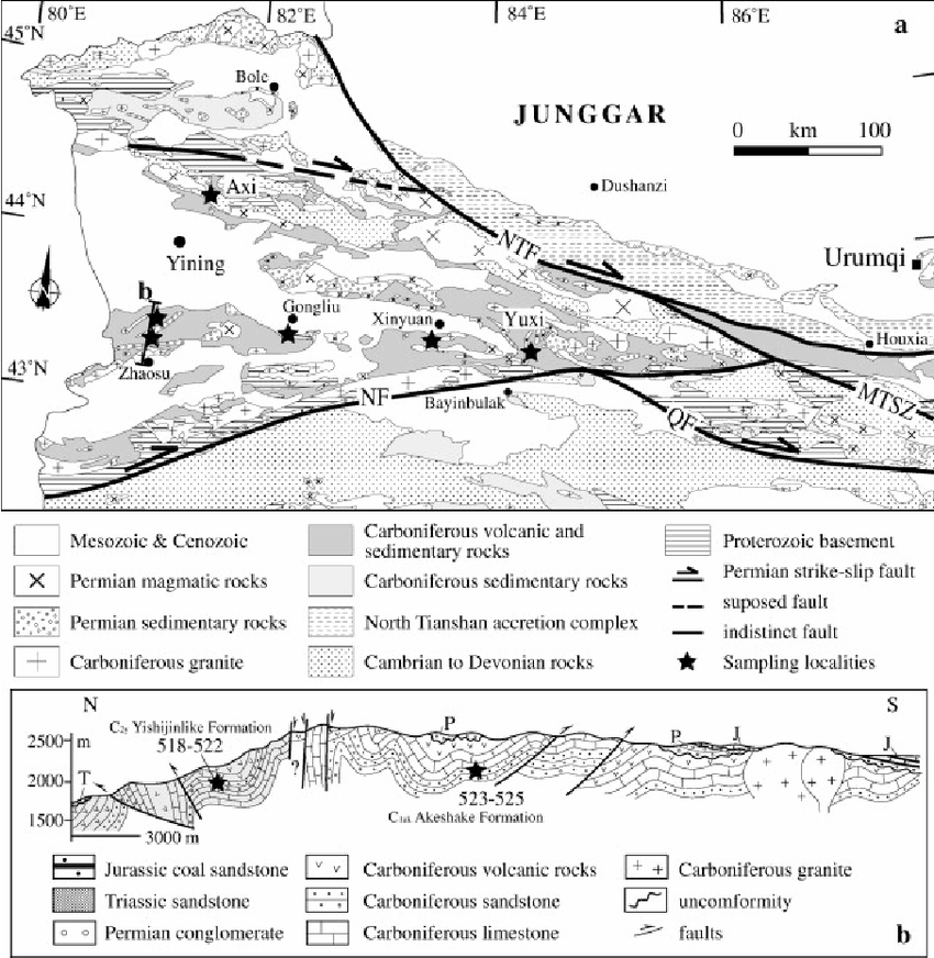 (a) Geological map of the Yili Block and adjacent areas