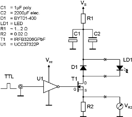 Example of driver circuit used by the authors for pulsed