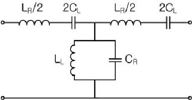T-equivalent circuit of one cell composite right- and left