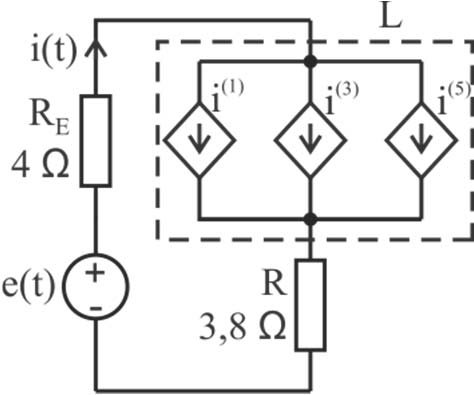 Experimental circuit (a) and equivalent simulation circuit
