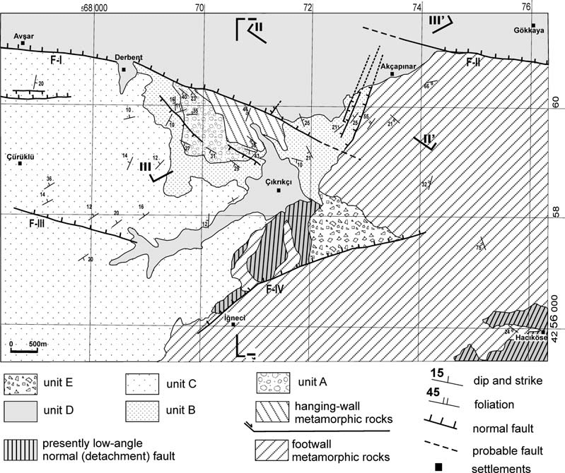 Geological map of the study area (Map grid is UTM, Zone 35