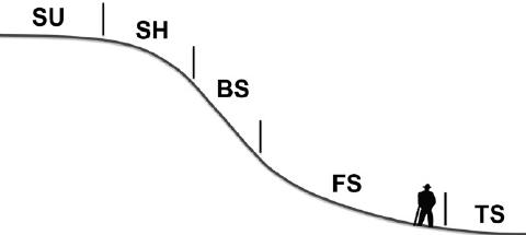 Schematic of the five hillslope positions: summit (SU