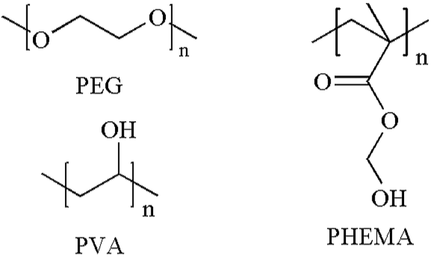 The chemical structures of poly(ethylene glycol) (PEG