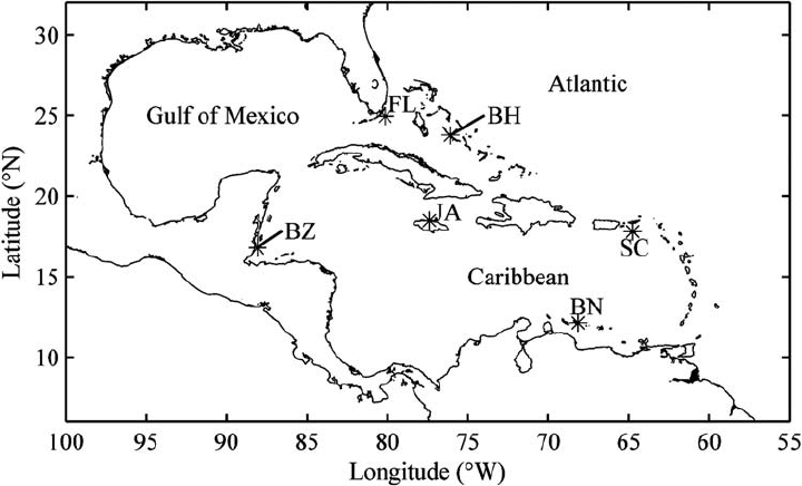 Map of study sites at Conch Reef, Florida, USA (FL), Lee