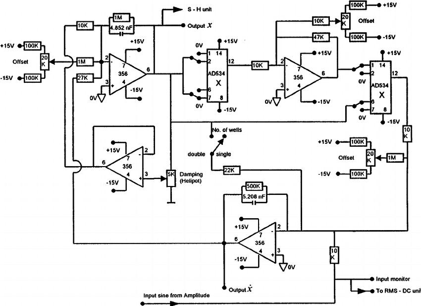 The block diagram of the Duffing oscillator circuit itelf