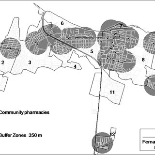 Buffer Zones (350 m) of community pharmacies in the city