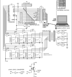 schematic of multiplexed tactor driver for parallel printer port and headphone audio output jack on a [ 850 x 943 Pixel ]