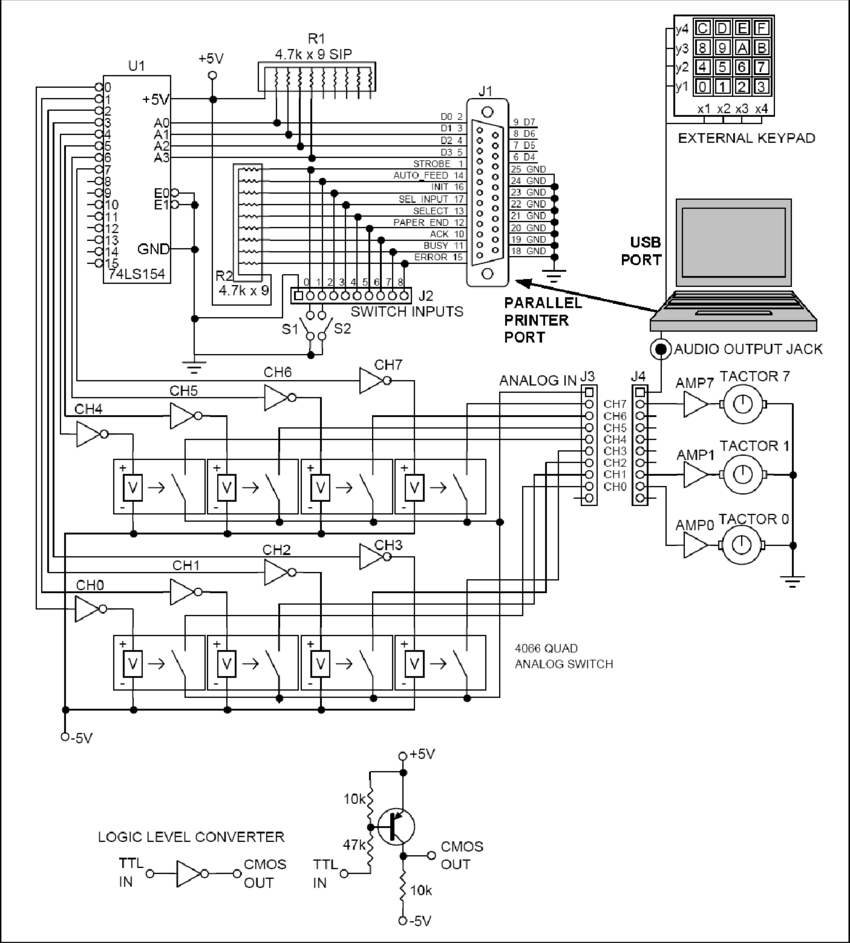 medium resolution of schematic of multiplexed tactor driver for parallel printer port and headphone audio output jack on a