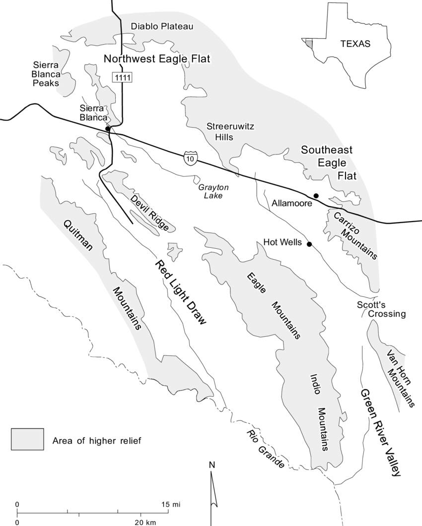 hight resolution of location of the study area including diablo plateau and hueco bolson and eagle flat and