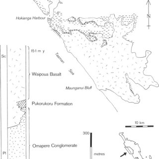 -North-south-trending outcrop belt of upper Otaian