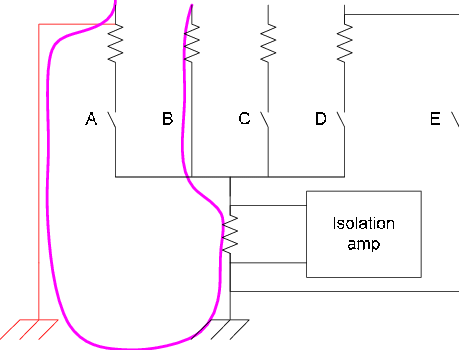 Bus monitor board ground fault detection circuit