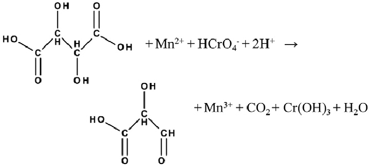 A single-step, three-electron reaction with tartaric acid