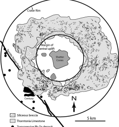 map of the lawn hill impact structure showing bedding trends within the limestone annulus and the [ 850 x 926 Pixel ]