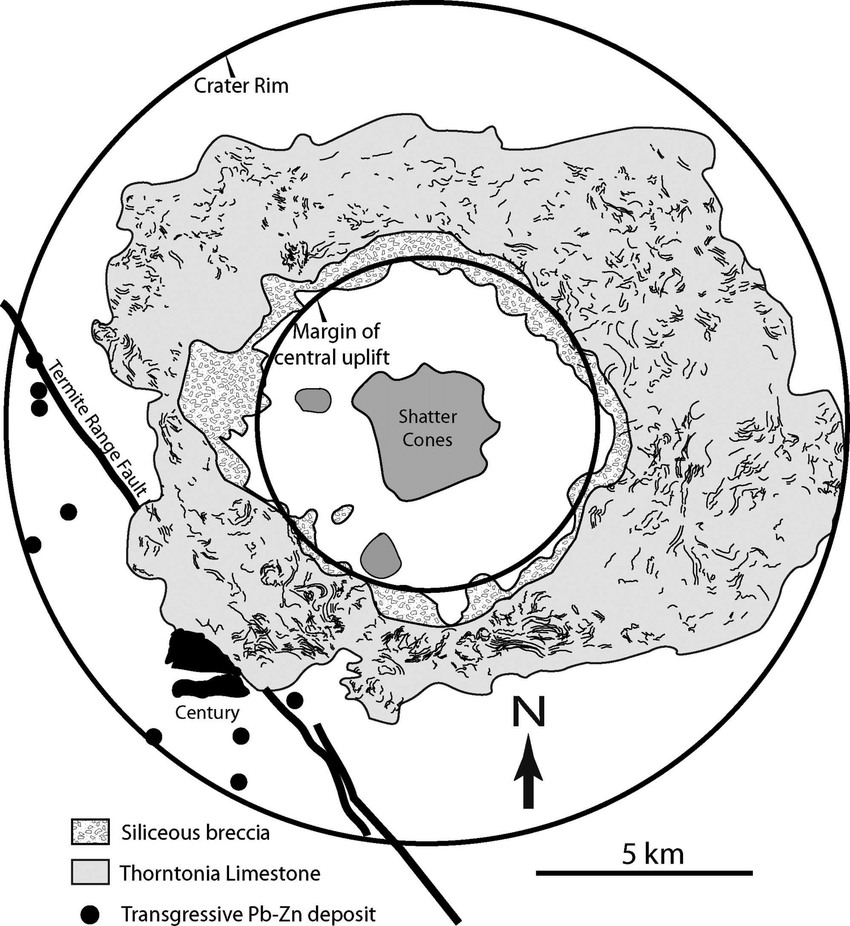 hight resolution of map of the lawn hill impact structure showing bedding trends within the limestone annulus and the