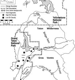 summer herd segment boundaries of the jackson elk herd grand teton national park yellowstone [ 848 x 1099 Pixel ]