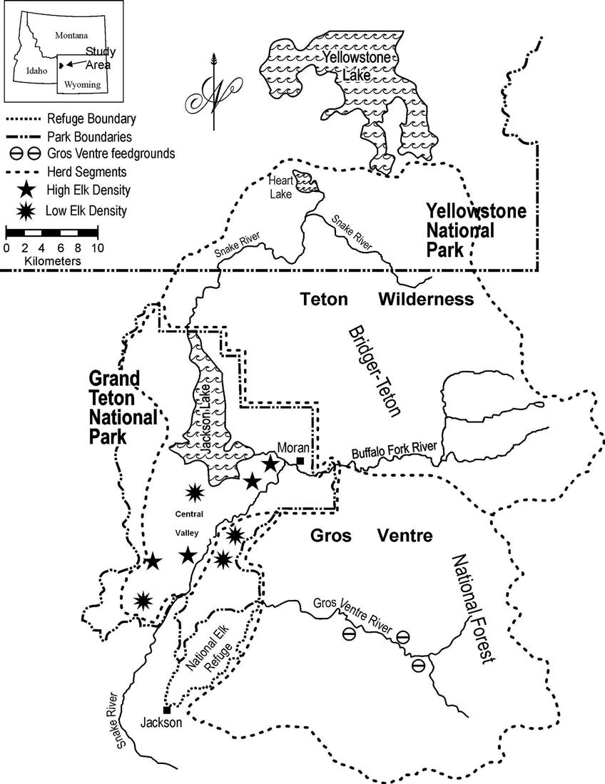 hight resolution of summer herd segment boundaries of the jackson elk herd grand teton national park yellowstone