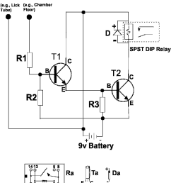 battery operated touch detector circuit r1 and r2 10 megohm resistors r3  [ 838 x 970 Pixel ]