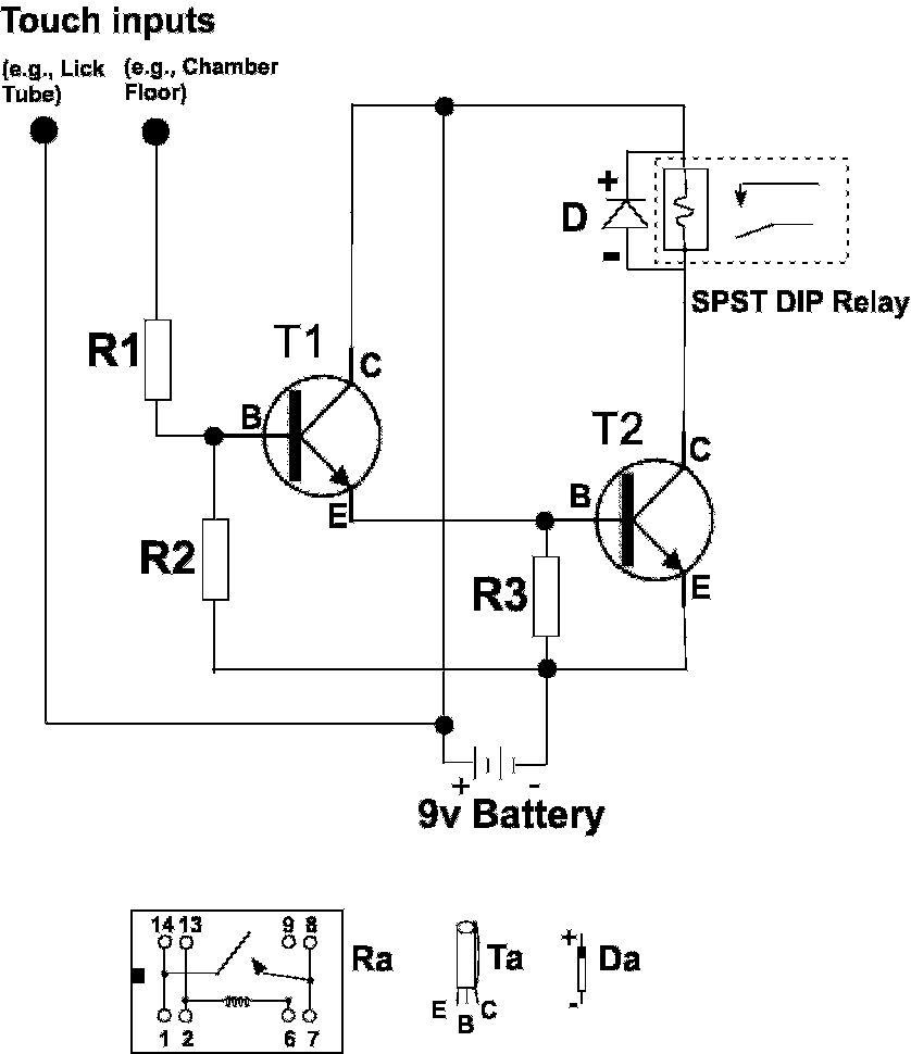 hight resolution of battery operated touch detector circuit r1 and r2 10 megohm resistors r3