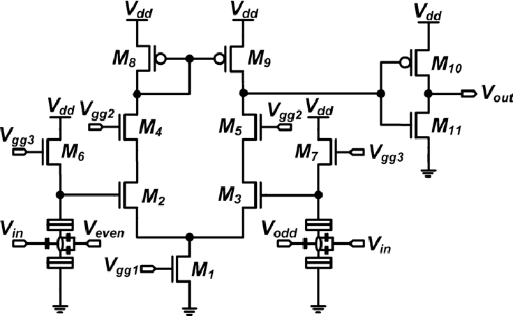 The complementary SET/CMOS hybrid amplifier circuits as