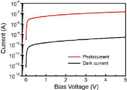 Dark current and photocurrent as a function of bias