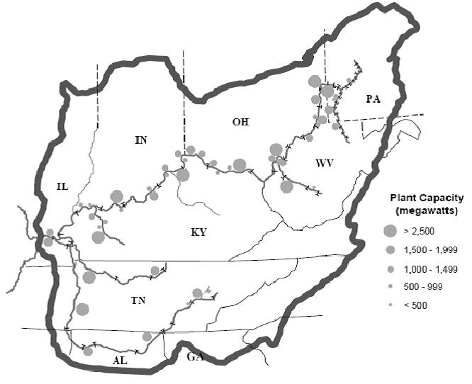 Waterside Electric Power Plants in the Ohio River Basin (U