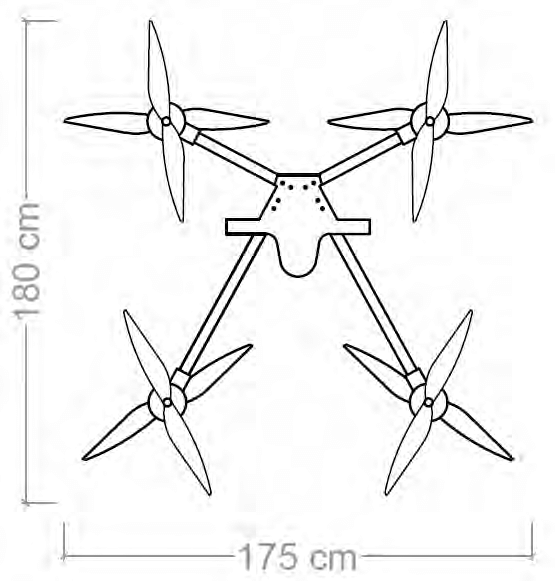 Photo and dimensions of the custom built drone used for