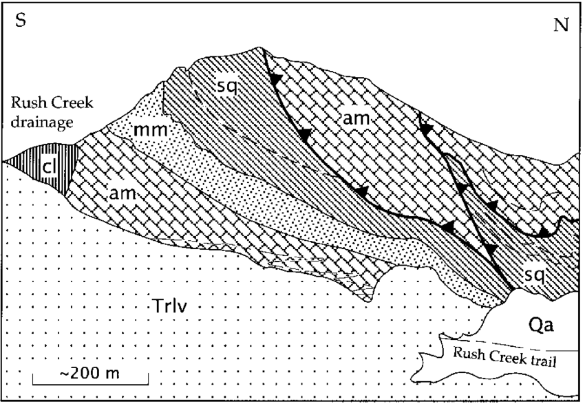 Line drawing of Morrison block rocks north of Agnew Lake