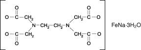 Structural formula of EDTA-FeNa·3H2O (iron EDTA