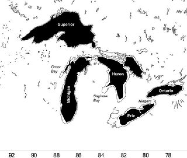 Map Of The Great Lakes With Offshore Waters Shaded  M Depth Contour