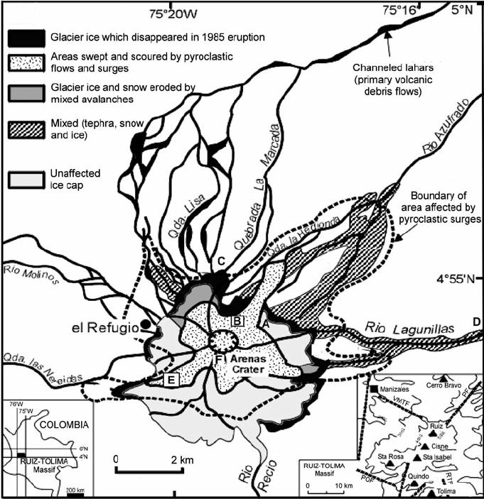 Sketch map of Nevado del Ruiz ice cap and summit region