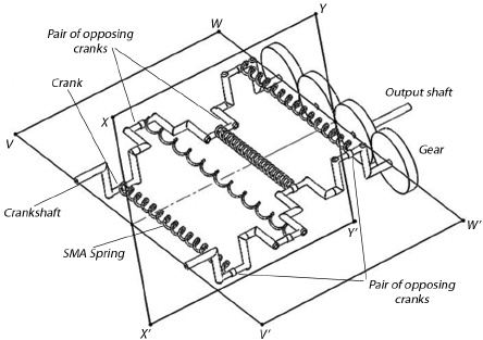 Schematic depiction of a twin crank SMA heat engine