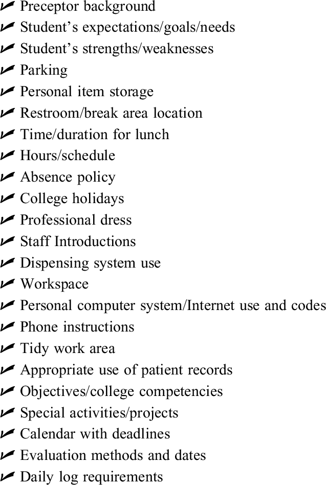 Orientation Checklist for Advanced Pharmacy Practice