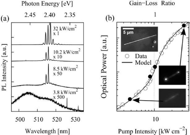 (a) μ PL spectra of a single CdS nanowire (diameter ∼ 175