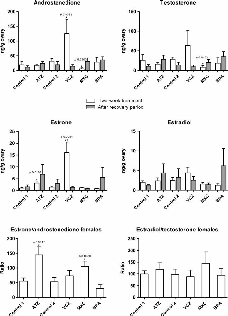 Androstenedione, testosterone, estrone and estradiol