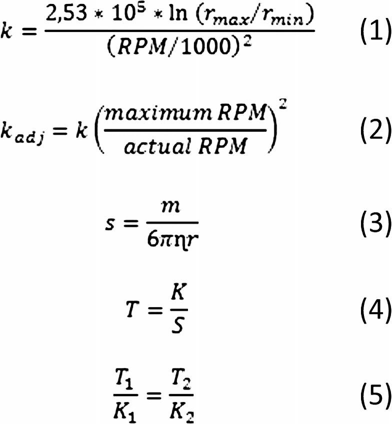 Equations used for conversion of a centrifugal run between