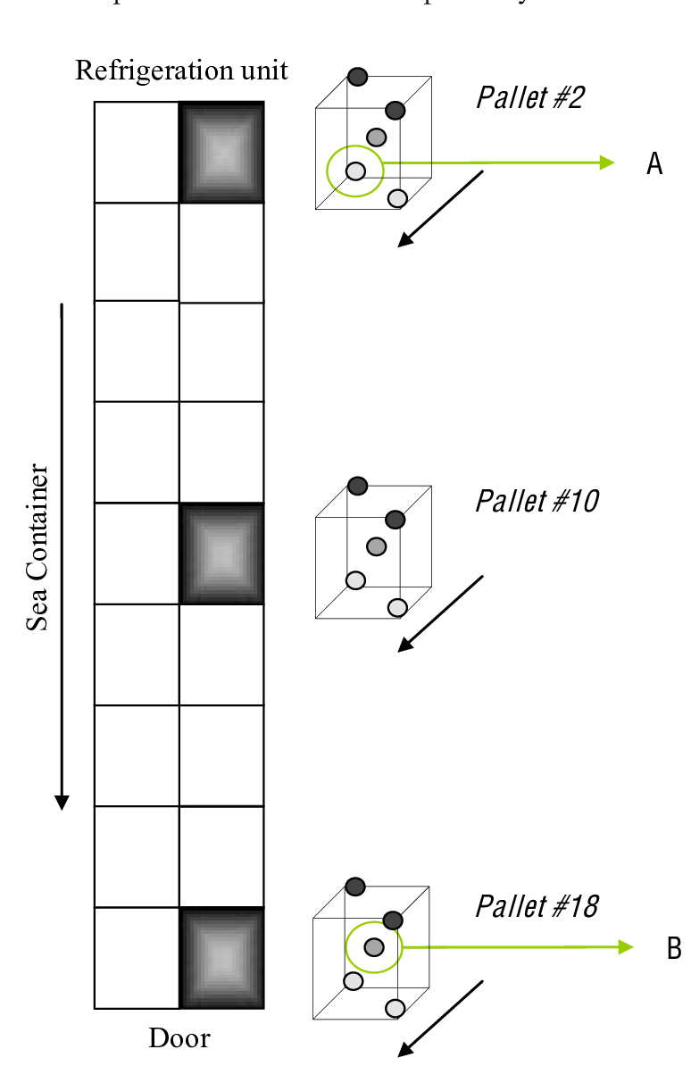 hight resolution of positions of temperature and rh data loggers within pallets in a marine container the locations