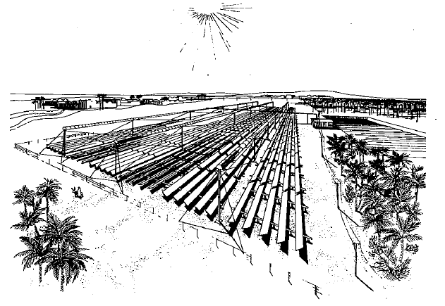 Artist's rendering of an Linear Fresnel Concentrator solar