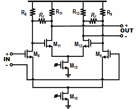 Schematic diagram of the modified Cherry-Hooper amplifier