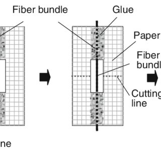 Schematic representation of tensile test on bamboo fiber
