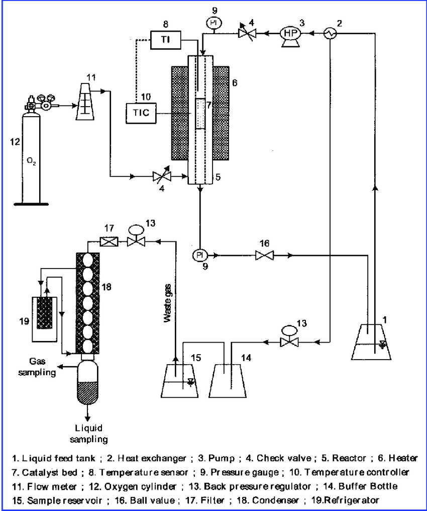 hight resolution of schematic diagram of the catalytic wet oxidation employed to carry out the ammonia oxidation over cu