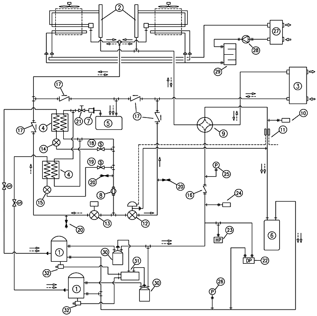 Schematic diagram of the heat pump cycle using combined