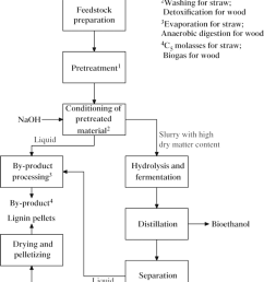 conceptual process flow diagram for the production of ethanol from lignocellulosic feedstock differences in the [ 850 x 1105 Pixel ]
