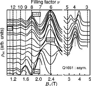 xx ( B Ќ ) traces for various tilt angles for sample Q1651